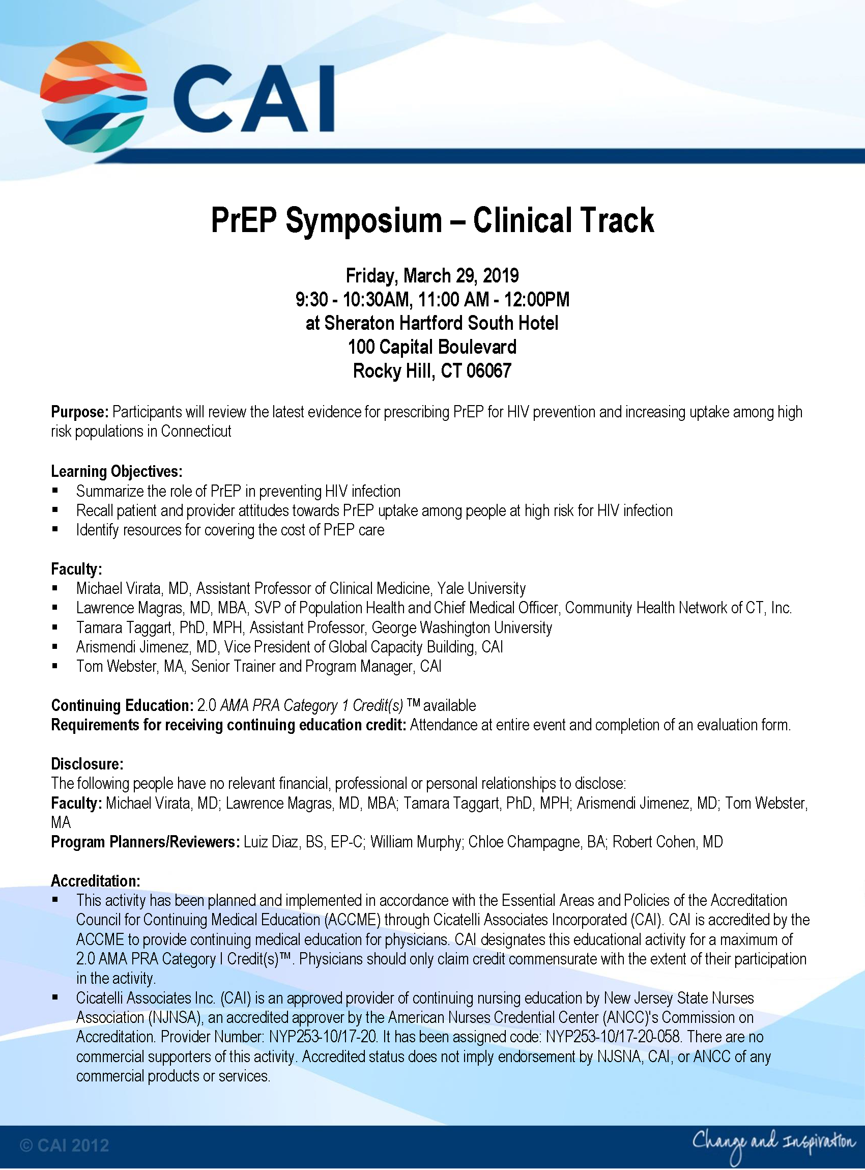 Connecticut Prep Symposium - Clinical Track - Community